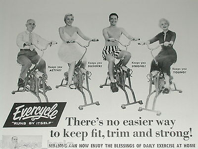 1958 EXERCYCLE advertisement page, motorized exercise bike, funny