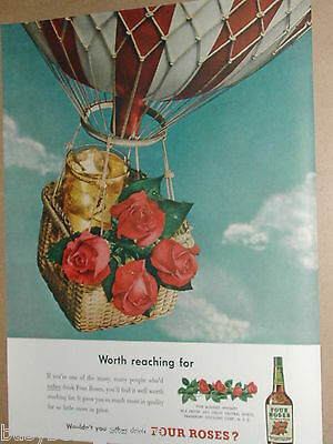 1949 Four Roses Whiskey advertisement, whisky, roses in a balloon basket