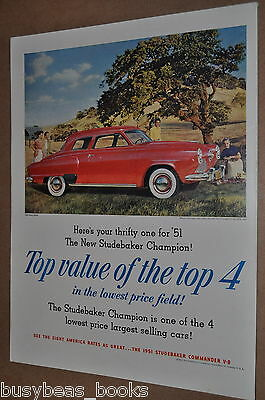 1951 Studebaker advertisement, STUDEBAKER Champion, color photo large format