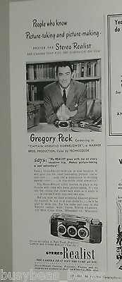 1951 STEREO REALIST Camera advertisement, with Gregory Peck