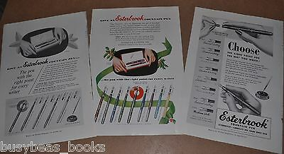 1952 Esterbrook Pen advertisements x3, fountain pens, point choices, nibs