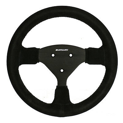Motamec Formula Race Steering Wheel Small Flat 270mm Black Suede Black Spoke