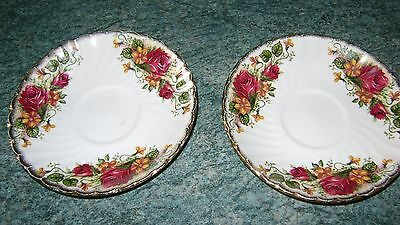 English Rose Ironstone Two Saucers