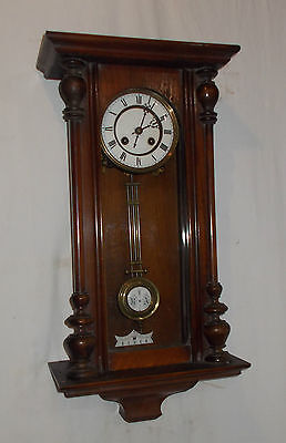 RSM VINTAGE Wall CLOCK With Turned COLUMNS & Chime Antique VIENNA