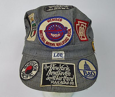 Vintage Railroad Engineer Conductor Cap with 14 Vintage RR Patches Lee Hat