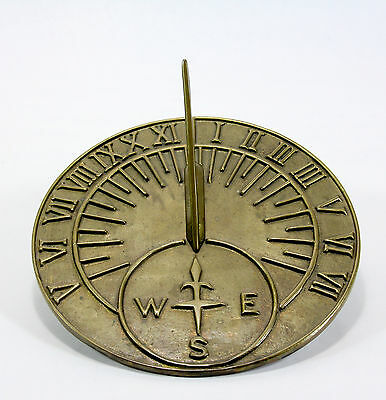 7-3/8 Inch Solid Brass Sundial with Roman Numerals and Nice Pataina
