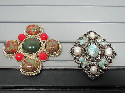 Lot of 2 Large Vintage Signed Sarah Coventry Brooches