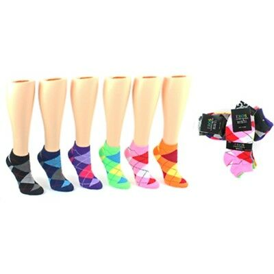 Lot of 48 Pairs Wholesale Women's Low-Cut Argyle Patterned Socks FREE SHIPPING!