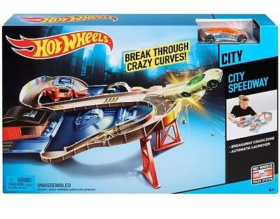 Hot Wheels Cars City Speedway Set Track Builder Compatible Mattel Great Gift