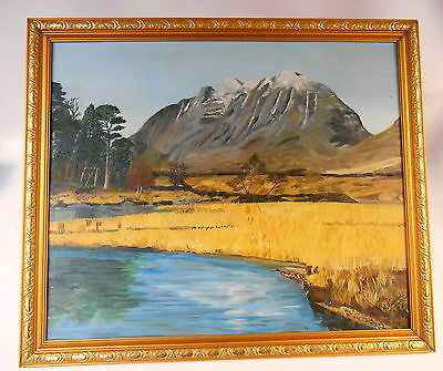 N. Tuckworth Framed Oil on Board Painting of Liathach Torridon Wester Ross