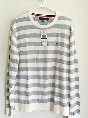 Tommy Hilfiger Mens Crew Neck Pullover Fence White Size L