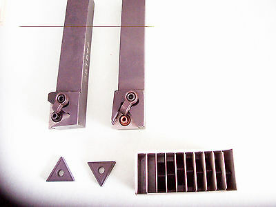 """Used - 1"""" Turning & Facing Tool Holders (Left Hand) with 10 Pcs Carbide Inserts"""