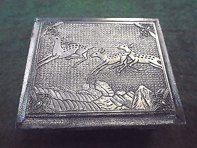 VTG Japanese Trinket Jewelry Cigarette Box Metal W/ Cedar Lining - Jumping Deer