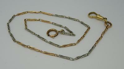 ***Fine Antique English 9ct 9k Solid Rose White Yellow Gold Watch Chain c1910**