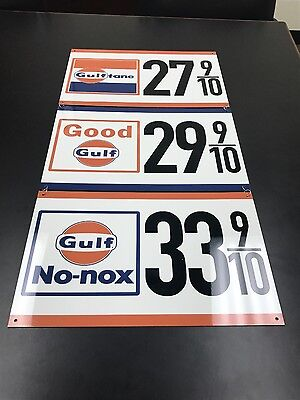 Gulf gasoline advertising sign rare 3 piece sign vintage reproduction 1960's