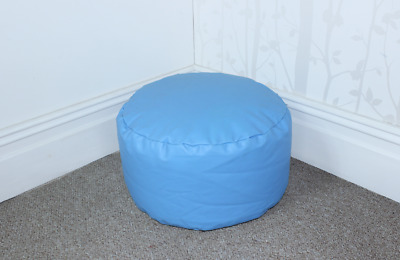 Blue Faux Leather Bean Bag Footstool Cool Blue Bean Bag Faux Leather Pouffe