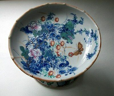 Japanese Seto Meiji Porcelain Compote Footed Bowl Butterfly, flower, pomegranate