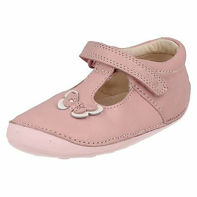 Girls Toddler Clarks Little Wow Hook & Loop Casual T Bar First Shoes Kids Size