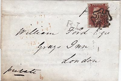 GB London 1841 1d Red Wrapper to Grays Inn Handstamped RL Ride Letter
