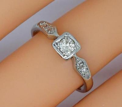 **beautiful Art Deco Platinum 0.20Ct Diamond Solitaire Ring Uk Size L 1/2**