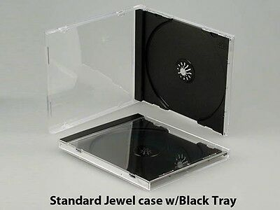 50 New Standard 10.4mm Single Black Tray CD DVD Jewel Cases, hold 1 Disc, CDSB