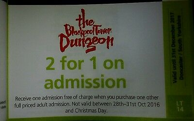 Blackpool Tower Dungeons 2 for 1 voucher