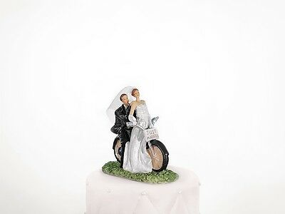 Cake Topper Newly-weds on a motorcycle, 11cm, 1piece  PF24
