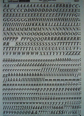 LETRASET RUB ON LETTER TRANSFERS Times Bold Italic 36pt (#1880) USED