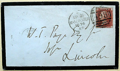 Cover Posted Manchester With 1d Plate 178, on Reverse Lincoln Sorting Tender CDS