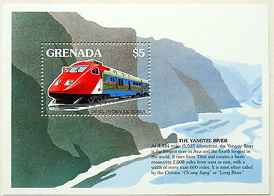 Trains, Grenada 1995 Trains Of The World, Two Min. Sheets, Thematic Stamps, UMM.