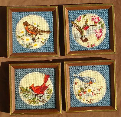 """Set of 4 Handmade Needlepoint Crewel Pictures Wood Frames Birds 6.25"""" Square"""