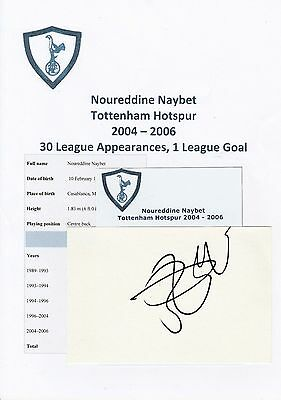 Noureddine Naybet Tottenham Hotspur 2004-2006 Original Hand Signed Cutting/Card