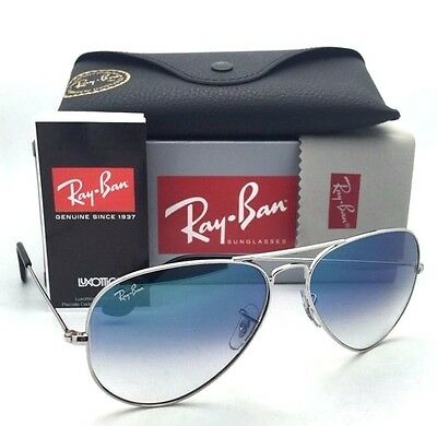Ray-Ban Aviator Sunglasses Light Blue Gradient Lens Silver Frame Rb3025 003/3F