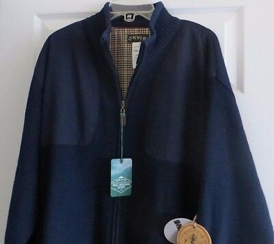 Orvis Men's Foul Weather Lined Wool Zip Navy Sweater Size XL NWT List $139