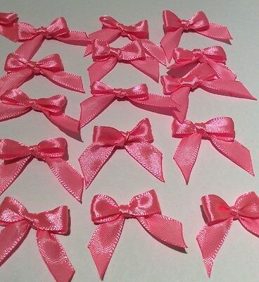 30 Pretty Bright Pink 10mm Ribbon bows �� for card making/scrap booking -charity