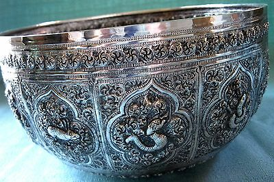 Antique Songkran Thai Siam Water Festival Sterling Silver Repousse Bowl 405g