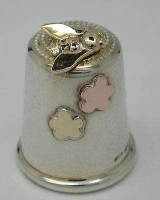 **vintage English Solid Silver & Gold Insect Design Novelty Thimble C1984**