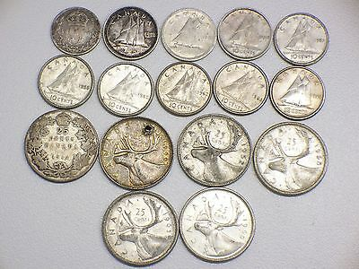 80% Silver Canadian Quarters And Dimes $2.50 Face Value