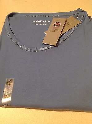 Ladies M & S Short Sleeve T-Shirt Size 20 Mid Blue