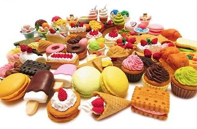 16 X Novelty Cake Erasers Dessert Food Sweets Doughnuts Rubbers Student Gift Toy