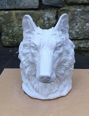 New Rubber Latex Mould To Make Concrete Wolfs Head Bust Statue
