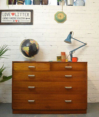 Vintage Industrial Military Wooden Bank of Drawers Cabinet Chest of 5 Drawers