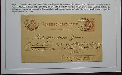 Austria. Fine postal stationery card sent from Joachimstahl to Vienna. 1876.