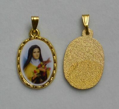 Saint Theresa Picture Medal Pendant, 20x15mm Gold Tone Border, Made In Italy Qua
