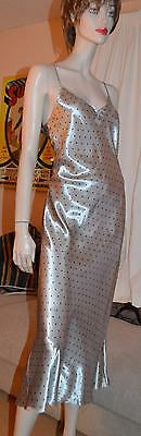 Glossy wet look SILVER satin VTG long gown Chemise uk 12-14