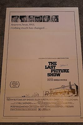 The Last Picture Show (Original 1971 Signed Us One Sheet Poster, Bogdanovich)