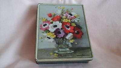 Vintage Tin Advertising A.s.wilkin Ltd Toffees With De,camps Flowers In Vase.