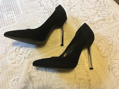 Black Suede High Heeled Court Shoes - Decorative Backs, Silver Heels,Size 6 / 39