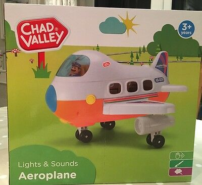 New Chad Valley Lights and Sounds Aeroplane Toys Childs Playset Age 3+