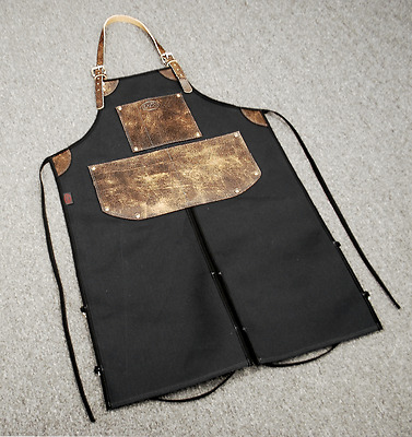 Bike Builder/Mechanic/Barber/Barista Canvas and Leather Apron-Black W/Split Legs